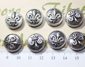 6 pcs per pack 16mm Fleur de Lis Coin left to right drilled Antique Silver Finish Lead Free Pewter
