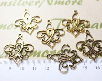 12 pcs per pack 30x25mm Fleur De Lis Cut Charm Antique Gold Finish Lead Free Pewter