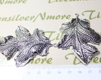 2 pcs per pack 68x51mm Large 3D Leaf Antique Silver Finish Lead Free Pewter