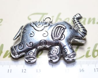 1 pc per pack 56x36mm 10mm thickness Pendant Antique Silver Finish Lead Free Pewter Large Two-side Reversible Elephant