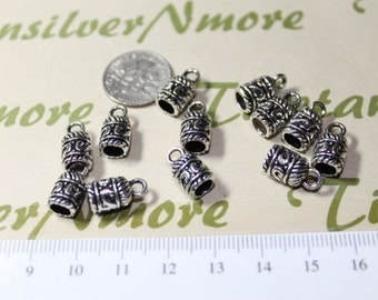 18 pcs pr pack 12mm tall 4mm diameter design End Cord Antique Silver Finish Lead Free Pewter