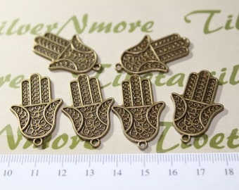 8 pcs per pack 34x20mm Print Textured Hand of Fatima or Hamsa Charm Antique Bronze Finish Lead Free Pewter