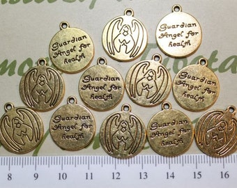 10 pcs per pack 18mm Guardian Angel for Health coin charm in Antique Gold Lead free Pewter.