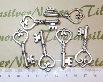 6 pcs a pkg - 47x19mm Antique Silver Finish Lead Free Pewter Skeleton Heart Key