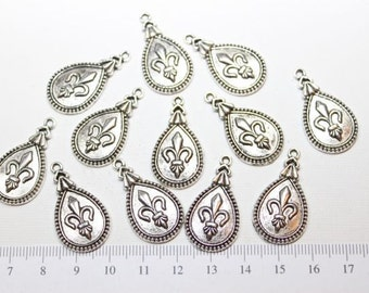 12 pcs per pack 30x17m Fleur de Lis teardrop charm Antique Silver Finish Lead Free Pewter