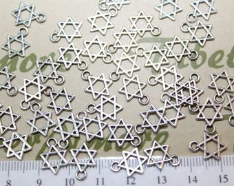 24 or 48 pcs per pack 10mm Small Star David Charm Antique Silver Finish Lead Free Pewter