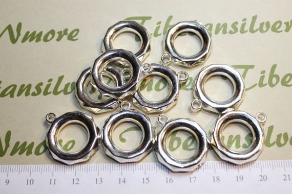 12 pcs per pack 24mm & 18mm Hole Acrylic Large Ring Tube with 3mm loop in Silver finished