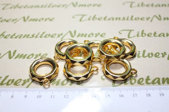 24 pcs per pack 24mm & 18mm Hole Acrylic Large Ring Tube with 3mm loop in Gold finished