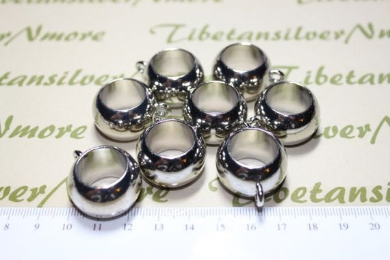 8 pcs per pack 18mm & 17mm Hole Acrylic Plain Large Hole Tube with 4mm loop in Silver Finish