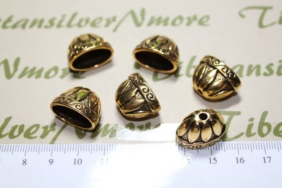 4 pcs - 18x14mm Large Flat Oval Cone Antique Gold Lead Free Pewter