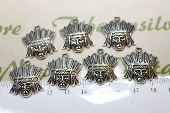8 pcs per pack 20mm Native American Chief Charm Antique Silver Finish Lead Free Pewter