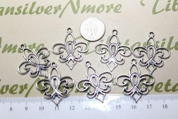 12 pcs per pack 30x25mm Fleur De Lis Cut Charm Silver Finish Lead Free Pewter