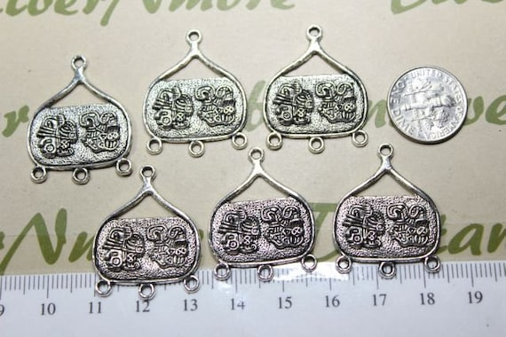 6 pcs per pack 24mm Mayan Glyph Rectangle Drop Chandelier Antique Silver Finish Lead Free Pewter