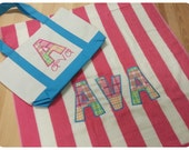 Pastel Madras Appliqued Name Pink/Wht Towel and Coordinating Letter Appliqued and Embroidered Turquoise Name Tote