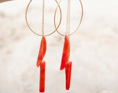 CUSTOM ORDER for Maryann - Silver Ovals with Two Dangling Coral Pieces