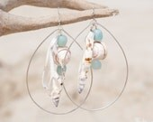 Large Sterling Silver Ovals with Hanging Shells and Amazonite