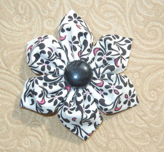 SALE 60% OFF Black, Pink & White Floral Fabric Hair Flower Clip