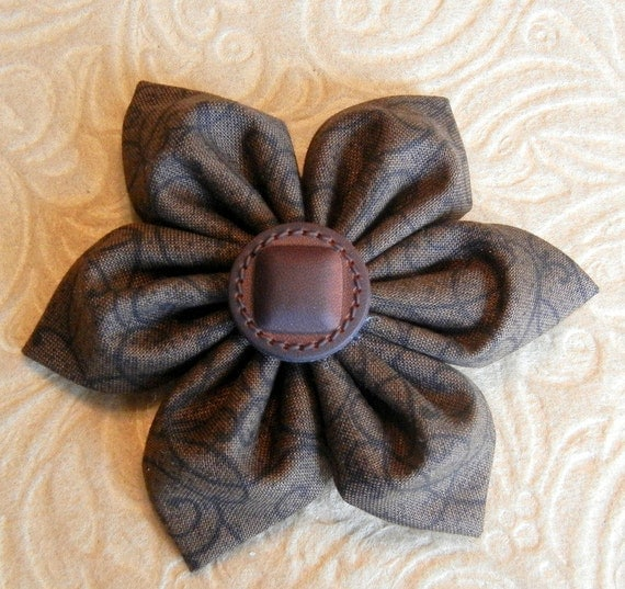SALE 60% OFF Brown Fabric Hair Flower Clip