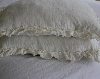 Standard Linen Pillow Sham with Raw Edged Mini Ruffle Cream