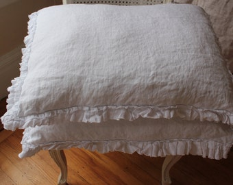 White linen standard pillow sham with raw edged ruffle