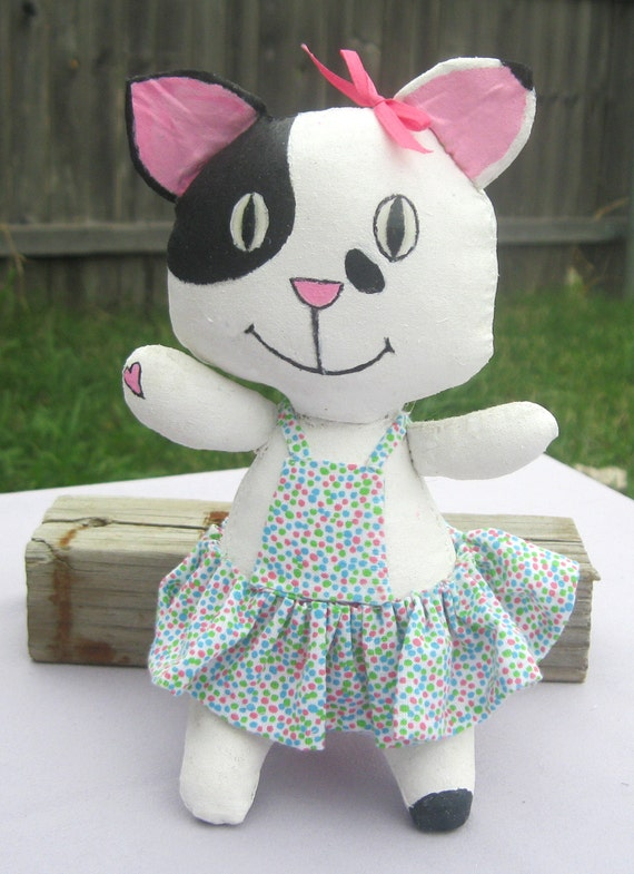Black and White Spotted Kitty Doll Soft Plush doll with poka dot Dress