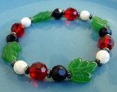 """8 Inch Elastic Beaded Bracelet - """"Ladybug Parade"""""""