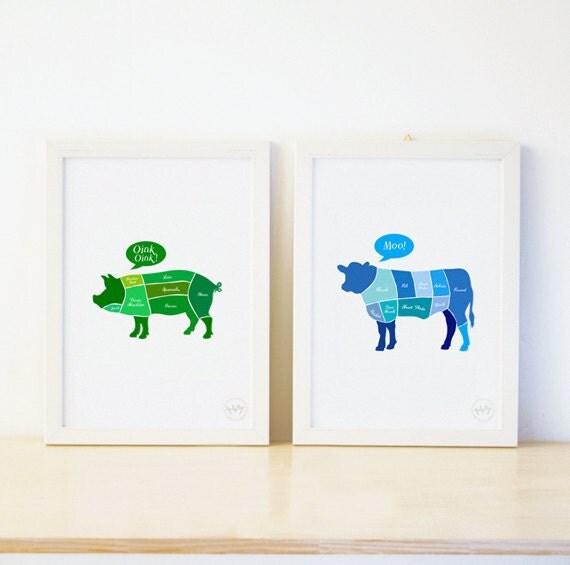 Beef (Cow) / Pork (Pig) Diagram Print Type B