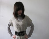 hand knit sweater in Oatmeal-AS02