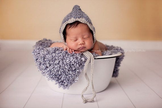 Blue and grey alpaca pixie hat - newborn photo prop