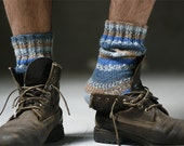Mens blue striped socks - made to order - Muza