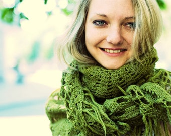 Handmade crochet shawl scarf  - Favorite green shawl