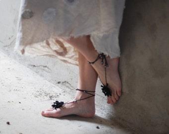 Black Crochet Barefoot Sandals flower with beads gift idea for her mom girl
