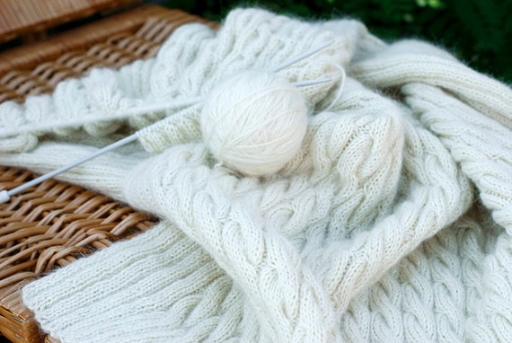 White ivory cable blanket handknit afghan gift idea for her mom girl