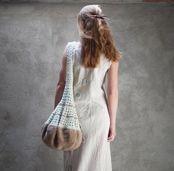 Crochet hobo tote eco-friendly bag beige and green
