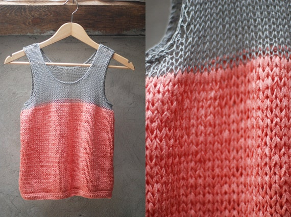 Color block tank top - grey and coral - made to order