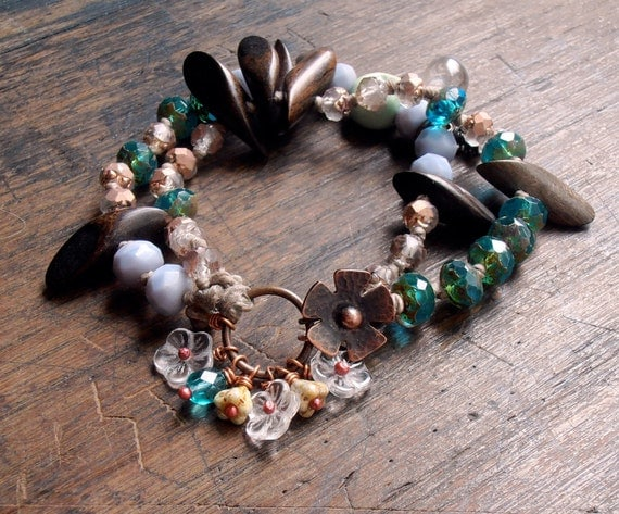 beaded bracelet - handmade beaded bracelet, art bead bracelet, glass bead bracelet, turquoise, lilac, antique copper