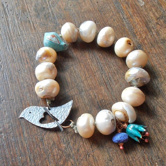 Chunky pearl bracelet - rustic freshwater pearls, hand knotted, handmade bird and flower beads, blue and teal