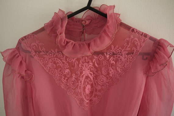 1970s vintage Victorian style sheer pink lace blouse top