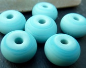 Lampwork Etched Pale Blue Spacer Beads