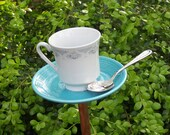 Turquoise & White Garden Art - Fiesta Ware saucer, fine white china teacup with silver spoon