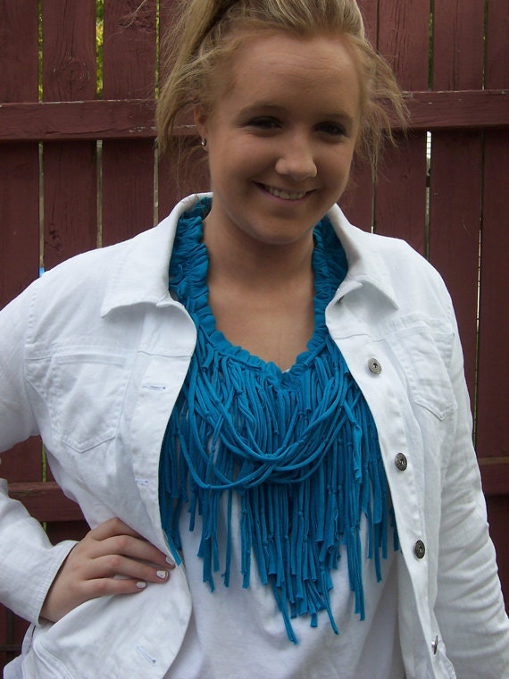 Turquoise Tshirt Scarf with Ruffle Neckline