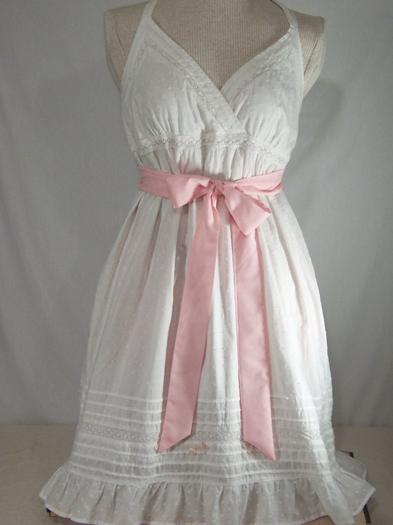 Upcycled White Apron with Soft Pink Sash and Pink Buttons