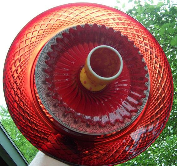 RESERVED FOR GAIL-Red Glass Flower Garden Yard Art