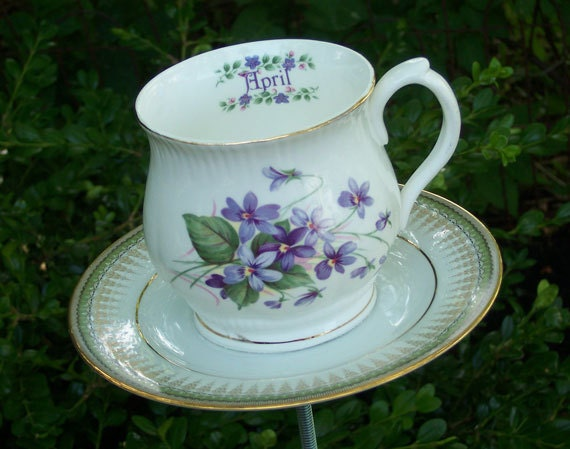 Tea Cup Yard Art Garden Decor - April Violets - Purple