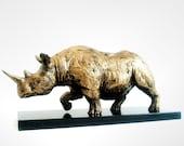 Rhinoceros, Rhino Sculpture, Abstract, Gold, African Safari