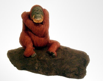 Orangutan Sculpture, Ornament, Very Detailed, Christmas Gift