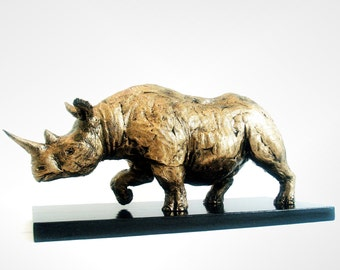 Rhinoceros, Rhino Sculpture, Abstract, Gold, African Safari
