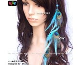 VILY Tribe Long Peacock Feather Hair Clip Hair Extension