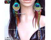 One Pair of Peacock and Grizzly Rooster Feather Extra Long Dangle Earrings, Peacock Feather Earrings, Feather Hair Extensions