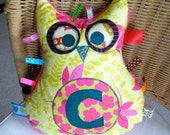 SALE Plush Odd Owl C - personalized plush baby taggy toy or cushion